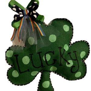 Shamrock St.Patrick's burlap door hanger holiday
